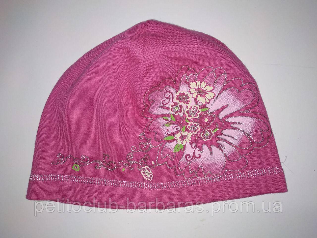 Тонкая хлопковая шапка для девочки Цветок розовая (AJS,Польша)