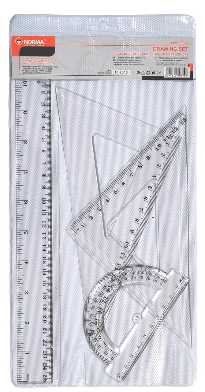 Набір:лінійка 25см+2 трикутники +транп.,пласт,9017,NORMA