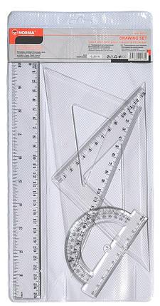 Набір:лінійка 25см+2 трикутники +транп.,пласт,9017,NORMA, фото 2