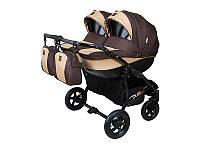 Детская коляска для двойни 2 в 1 Angelina Viper Duo Smart шоколадно-бежевая 12