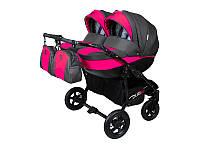 Детская коляска для двойни 2 в 1 Angelina Viper Duo Smart графит-розовая 14