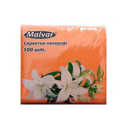 """Серветка """"Malvar"""" персик, 100 шт,(1пак./16уп.), фото 2"""