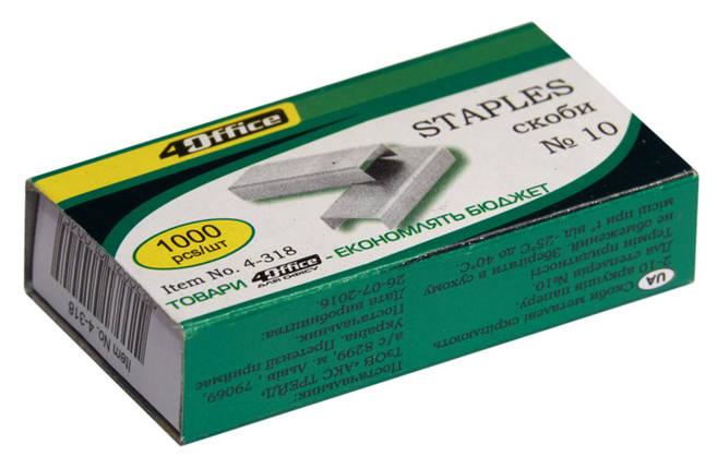 Скоби для степлера 4Office, 4-318, №10, 1000 штук, фото 2