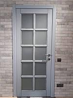 Двери межкомнатные деревянные (серый с патиной), фото 1