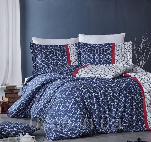Комплект постельного белья сатин Nazenin  евро размер  Dama lacivert