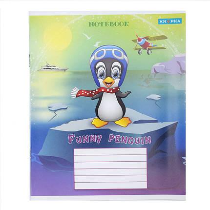 Зошит шкільний Knopka, 12 аркушів, похила лінія, Pingvin, 20/560, 00102, фото 2