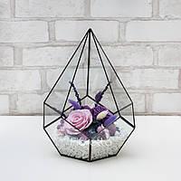 """""""Аметист"""" - флорариум из стабилизированных цветов, долгосвежие розы"""