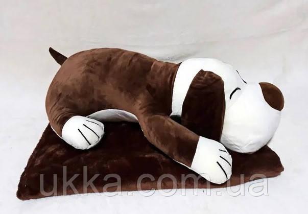 Игрушка плед подушка Собачка коричневая
