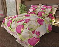 КОМПЛЕКТ ПОСТЕЛЬНОГО БЕЛЬЯ. Розы 3D. Цвет розовый, белый, голубой с Тюльпанами. размер - ПОЛУТОРКА, 1,5-ка