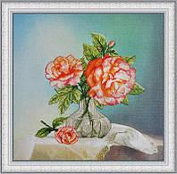 Набор для вышивки крестом на фоновой канве Розы