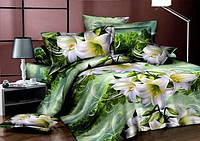 КОМПЛЕКТ ПОСТЕЛЬНОГО БЕЛЬЯ. Ткань БЯЗЬ. размер - ДВОЙНОЙ, 2-х спалка. Цвет белый, зеленый с лилиями