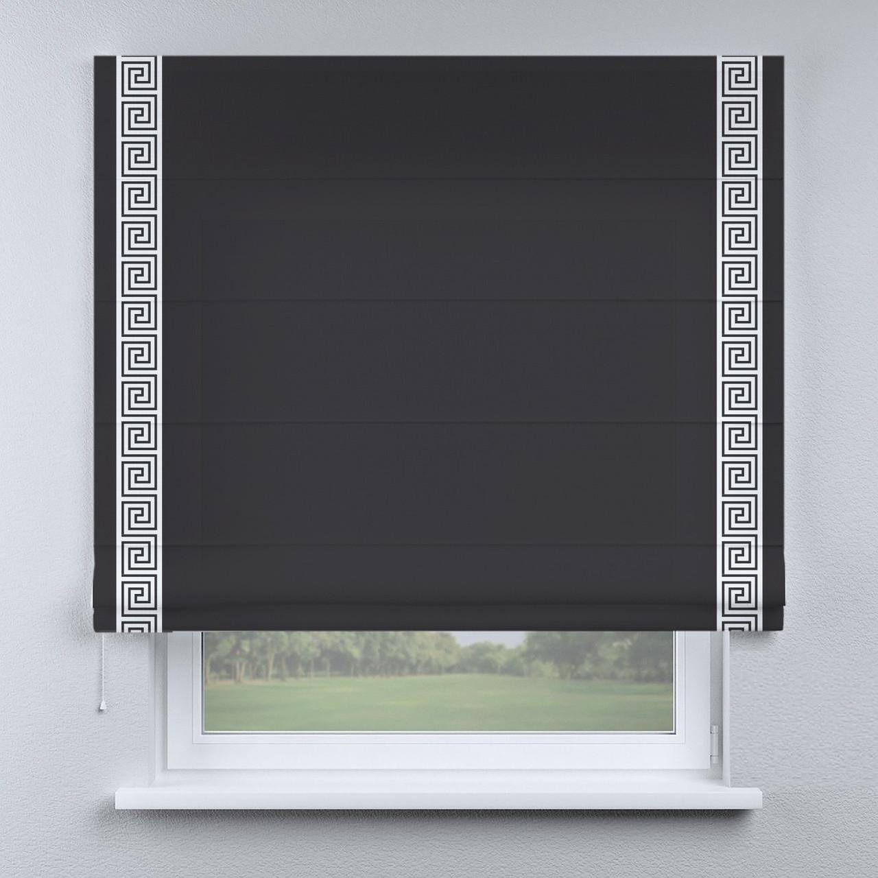 Римская штора черная с кантом белым