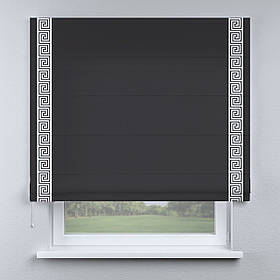 Римская фото штора черная с кантом белым