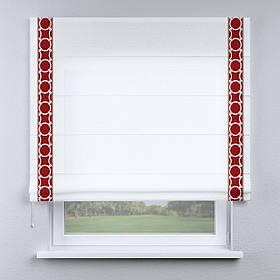 Римская фото штора белая с кантом красным