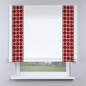 Римская штора белая с кантом красным