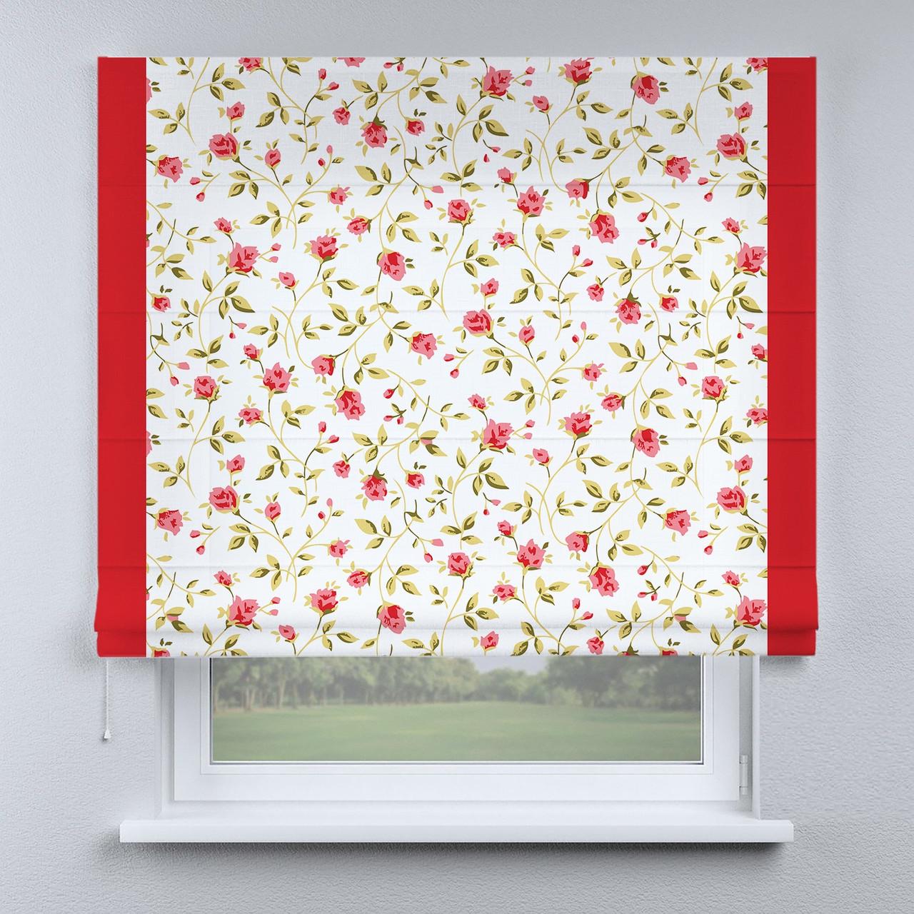 Римська фото штора біла червоні квіточки з червоним кантом