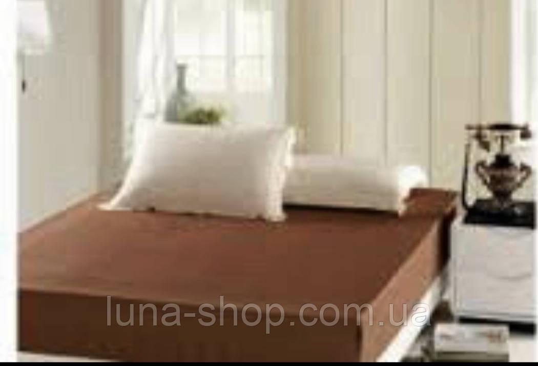 Простынь на резинке коричневая (шоколадная) из ранфорса всех размеров, с наволочками и без, хлопок 100%