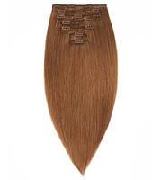 Волосы на заколках 50 см 160 грамм. Цвет #06 Каштановый, фото 1