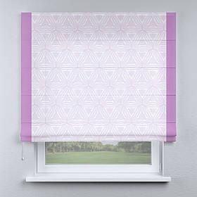 Римская фото штора белая абстракция с кантом лиловым