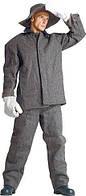 Костюм суконный с огнестойкой  пропиткой, рабочий, мужской, костюм сварщика, черный , серый
