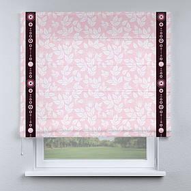 Римская фото штора розовая листочки с кантом черным