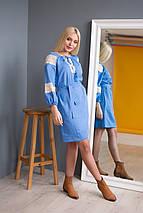 Жіноча сукня вишиванка блакитна з мереживом, фото 3