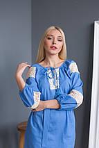 Жіноча сукня вишиванка блакитна з мереживом, фото 2
