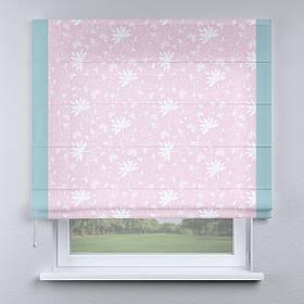 Римская фото штора розовая цветы белые с кантом голубым