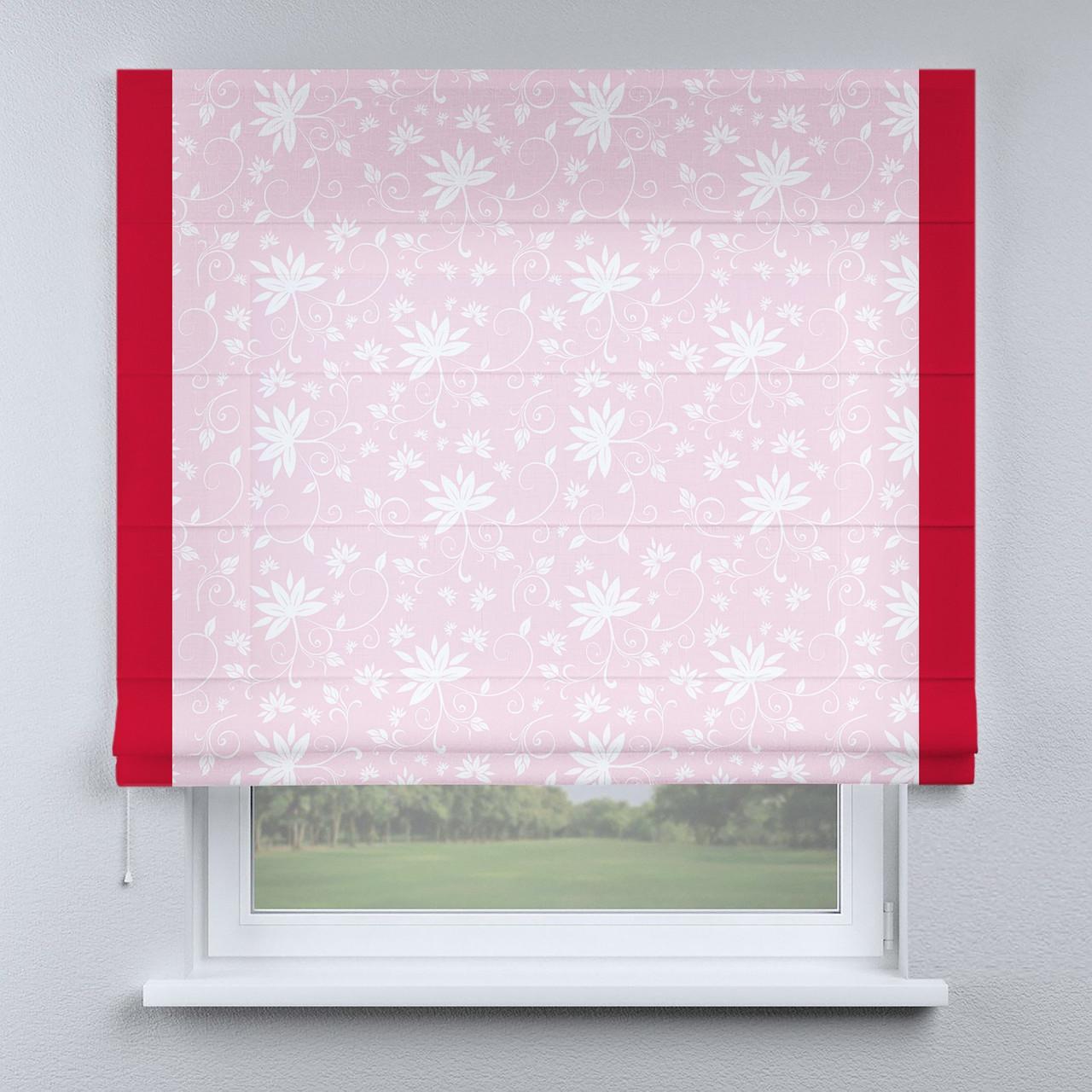 Римская штора розовая цветы белые с кантом красным