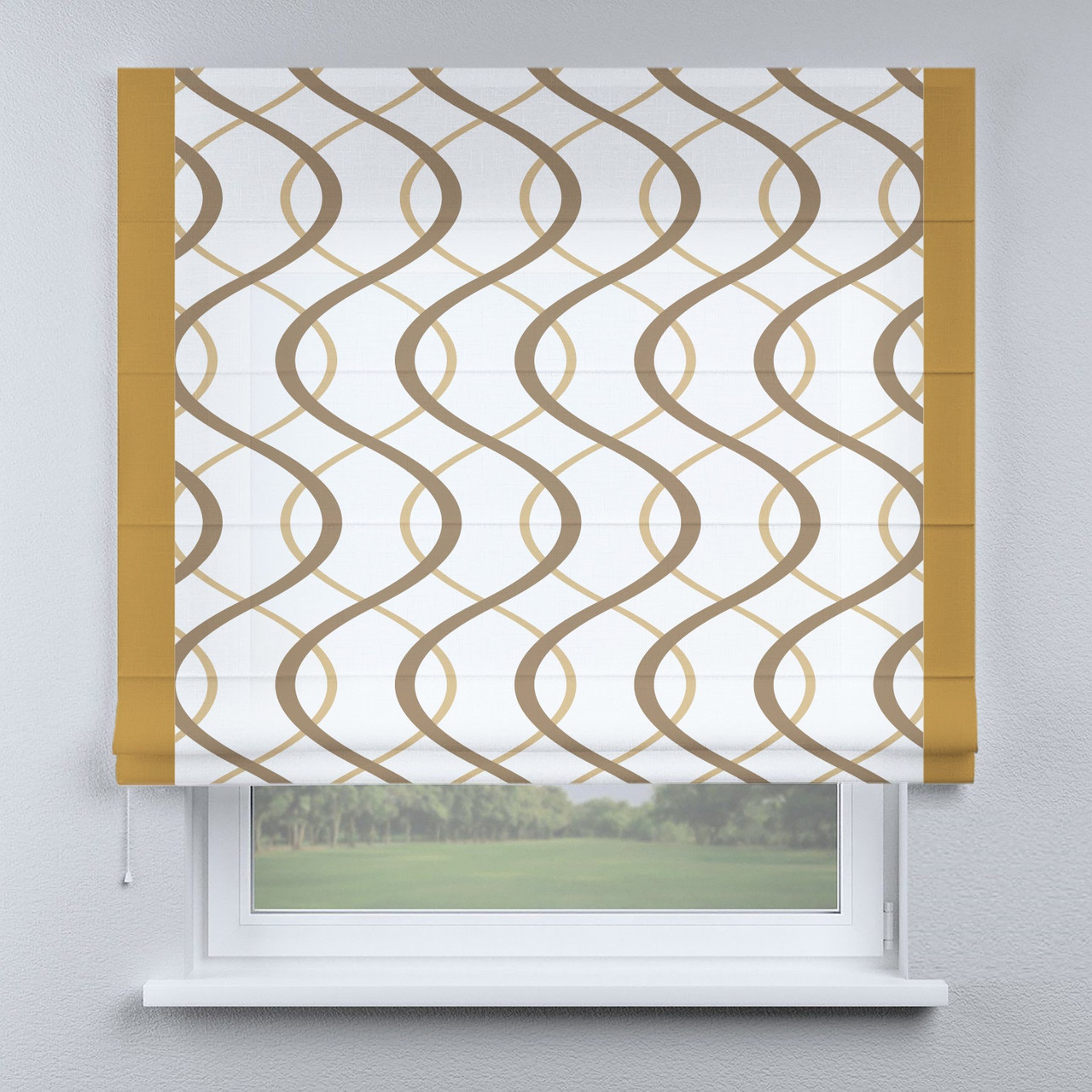 Римська фото штора хвилі з кантом гірчичним