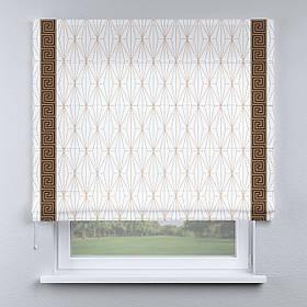 Римская фото штора белая с кантом коричневым