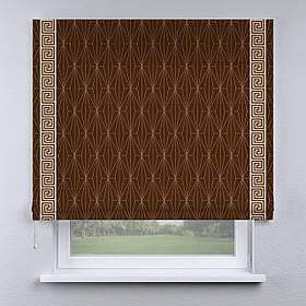 Римская фото штора коричневая с кантом бежевым