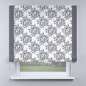 Римская фото штора белая цветы серые с кантом серым