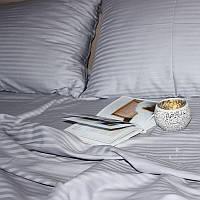 Постільна білизна Євро розміру страйп-сатин Luxury сірий