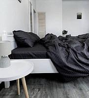 Постільна білизна Євро розміру страйп-сатин Luxury чорне