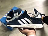 Мужские кроссовки Adidas Iniki Deep Blue (Адидас Иники тёмно-синие), фото 7