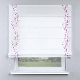 Римская штора белая с кантом розовым