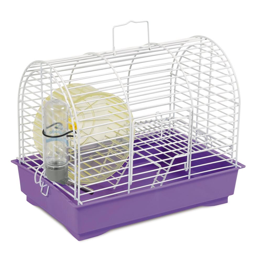 Клетка для грызунов Природа Фаворит с колесом белая/фиолетовая 30*20*24