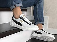 Мужские кроссовки кеды натуральная белая кожа в стиле Puma Suede
