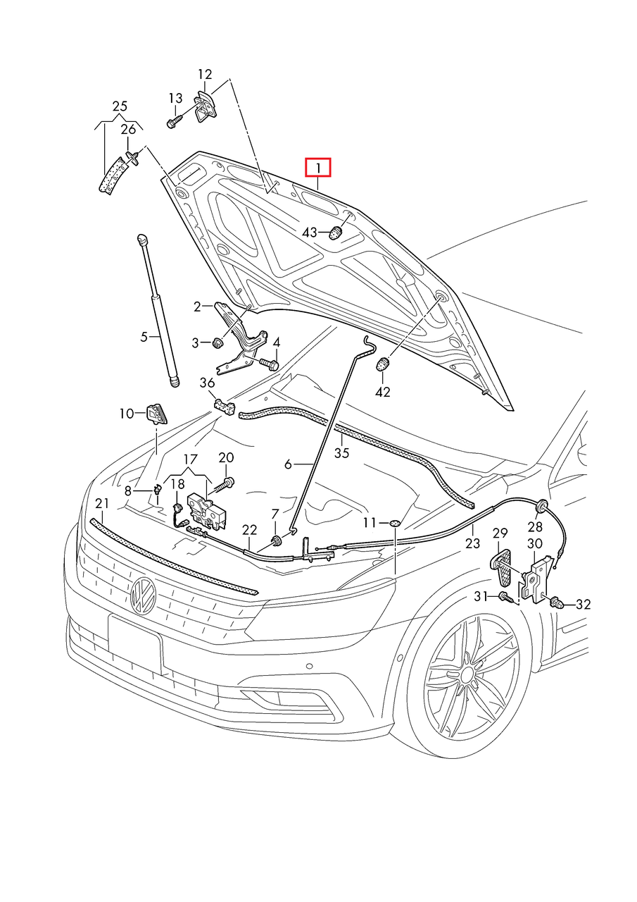 Капот VW Passat B8 USA 2015-2018     561823031F