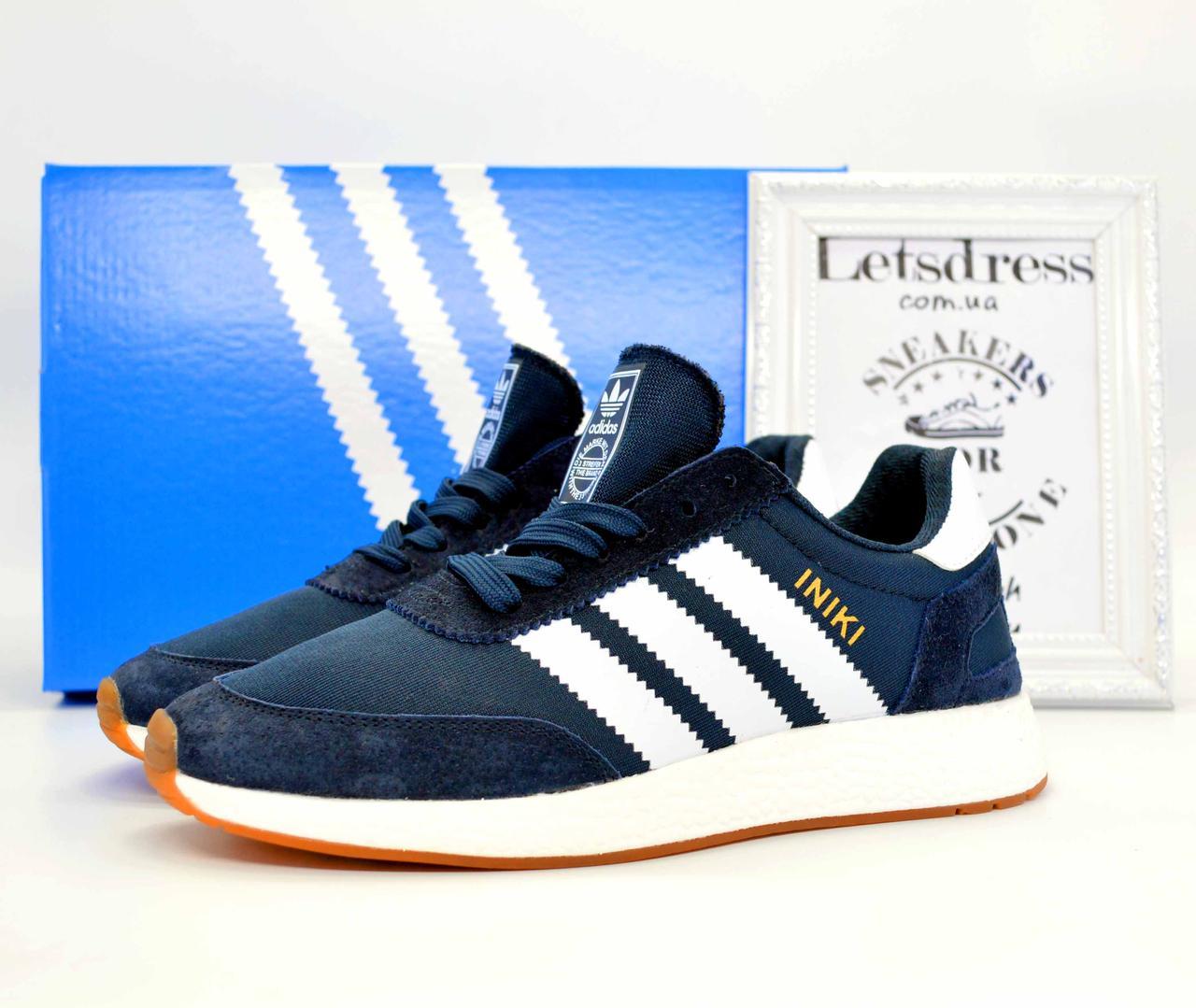 ✅ Кросівки чоловічі Adidas Iniki Runner Boost замш і сітка адідас иники ранер сині