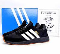 ✅ Кроссовки мужские Adidas Iniki Runner Boost Black замш и сетка адидас иники ранер черные 42