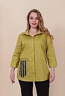 Женская рубашка из хлопка большого размера,цвет зеленый. От производителя. Размеры 52, 54, 56, 58. Хмельницкий, фото 1