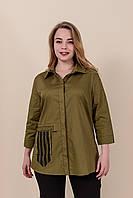 Женская рубашка из хлопка большого размера,цвет хаки. От производителя. Размеры 52, 54, 56, 58. Хмельницкий, фото 1