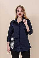 Женская рубашка из хлопка большого размера,темно синий. От производителя. Размеры 52, 54, 56, 58. Хмельницкий, фото 1