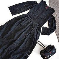 Платье черное кружевное длинное  с вырезами на плечах