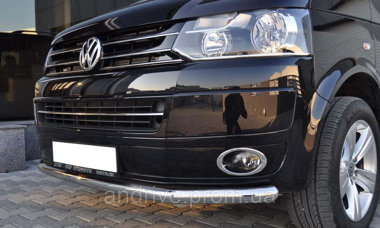 Защита переднего бампера (ус одинарный) Volkswagen T5 (Transporter) 2003-2009