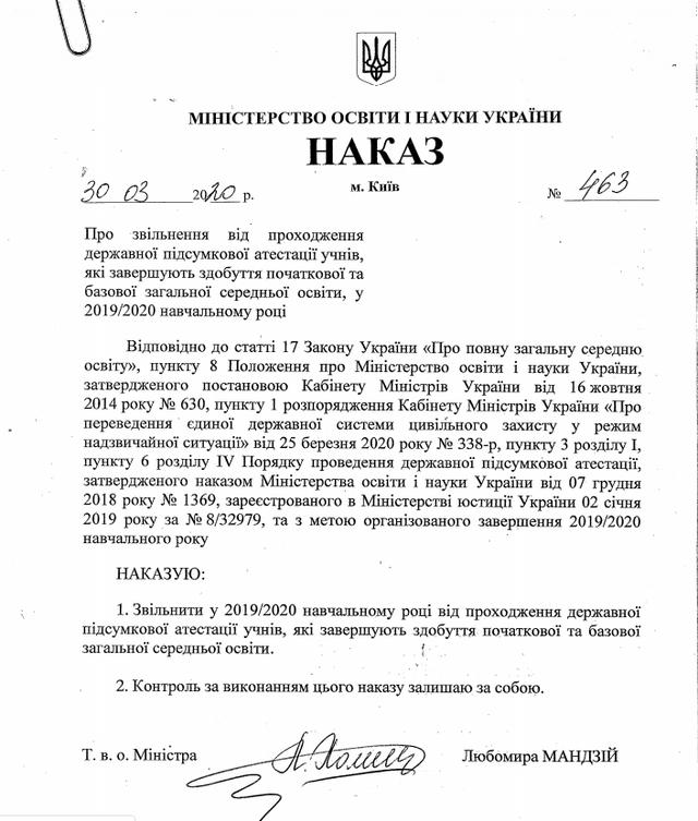 Наказ МОН України