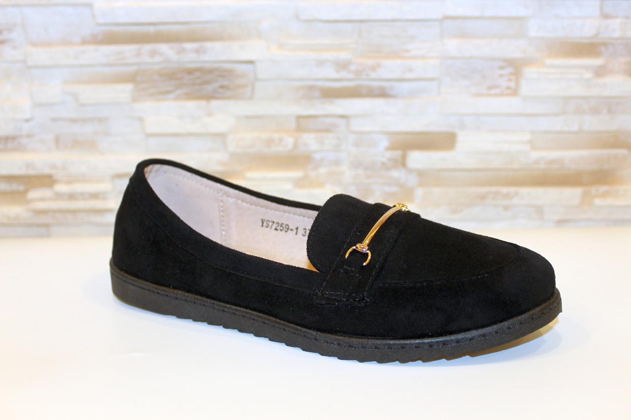 Туфли женские черные замшевые Т093