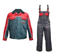 Костюм для работника автосервиса, спецодежда, куртка и полукомбинезон рабочий, униформа
